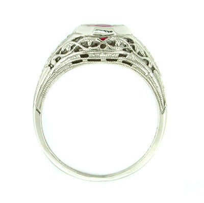 Dionne Art Deco Filigree Antique Ruby Ring in 14 Karat White Gold - Item: R169 - Image: 1