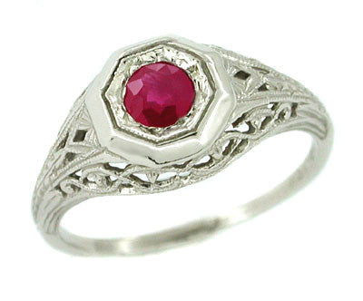 Dionne Art Deco Filigree Antique Ruby Ring in 14 Karat White Gold