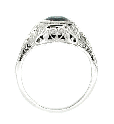 Art Deco Engraved Azalea Sapphire Filigree Ring in 14 Karat White Gold - Item: R168 - Image: 1