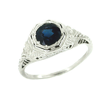 Art Deco Engraved Azalea Sapphire Filigree Ring in 14 Karat White Gold