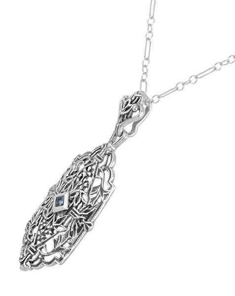 Art Deco Sapphire Filigree Pendant Necklace in Sterling Silver - Item: N118 - Image: 1
