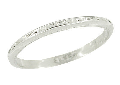 Art Deco Triangles Engraved Wedding Band in Platinum
