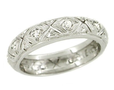 Art Deco Tylerville Vintage Filigree Diamond Wedding Band - 18K White Gold - Size 5.5