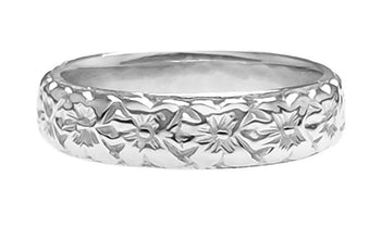 Art Deco Wedding Flowers Band in 18 Karat White Gold - 4.7mm Wide