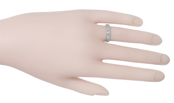 Art Deco Wedding Flowers Wide Wedding Band in Platinum - 4.7mm Wide - Item: R205 - Image: 1