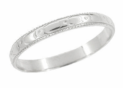 Art Deco Carved Bridal Flowers Vintage Wedding Ring in 18K White Gold
