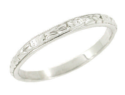 Art Deco Vintage Frond Leaves Wedding Ring in 14 Karat White Gold