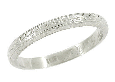 Art Deco Wheat Engraved Wedding Ring in 18 Karat White Gold