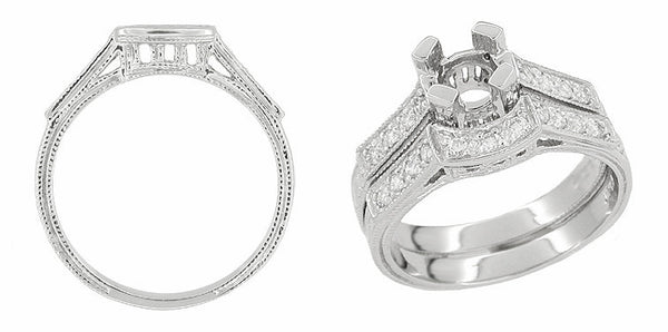 Art Deco Diamonds Curved Filigree Scrolls Engraved Wedding Ring in 18 Karat White Gold - Item: WR396 - Image: 1
