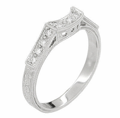 Art Deco Diamonds Curved Filigree Scrolls Engraved Wedding Ring in 18 Karat White Gold