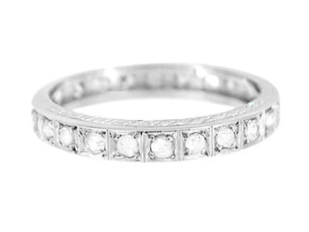 Art Deco Diamond Straightline Vintage Engraved Diamond Wedding Band in Platinum - Size 9