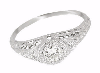 Art Deco Filigree Engagement Ring Setting in Platinum for a 1/4 - 1/3 Carat Diamond
