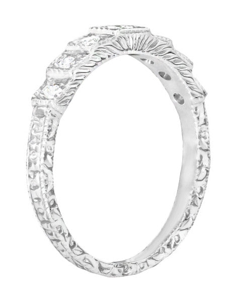 Art Deco Platinum and Diamond Engraved Wedding Band - Item: DWR135P - Image: 1