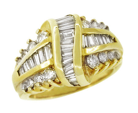 Channel Set Baguette and Round Diamond Estate Ring in 14 Karat Gold
