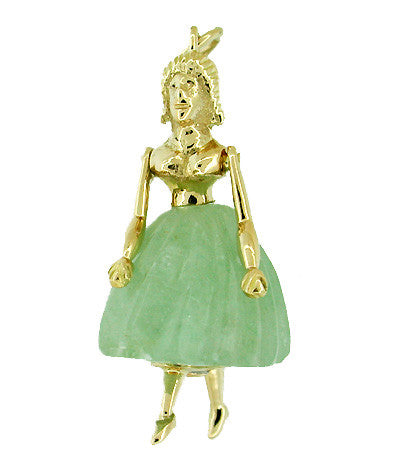 Ballerina Movable Estate Pendant in Jade and 18 Karat Gold