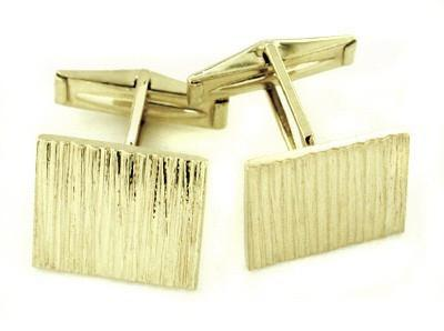 1960's Bark Finish Estate Cufflinks in Solid 14 Karat Gold