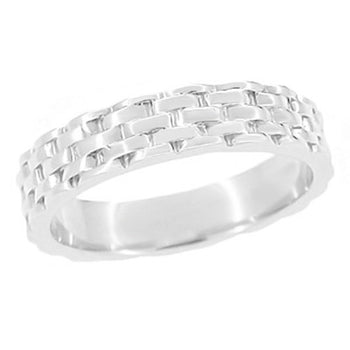 1960's Basket Weave Wedding Band in 14 Karat White Gold - 4mm Wide Vintage Design