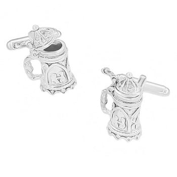 Beer Stein Movable Cufflinks in Sterling Silver