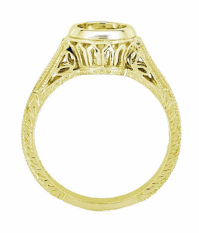 Art Deco Filigree Low Profile Bezel Engagement Ring Setting for a 1 - 1.25 Carat Round Diamond in 18K Yellow Gold - Item: R306Y1 - Image: 3