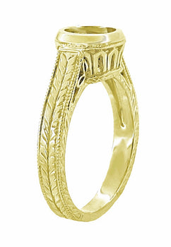 Art Deco Filigree Low Profile Bezel Engagement Ring Setting for a 1 - 1.25 Carat Round Diamond in 18K Yellow Gold