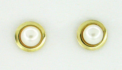 1970's Estate Bezel Set Pearl Stud Earrings in 14 Karat Yellow Gold