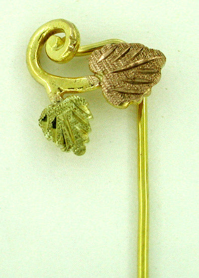 Black Hills Gold Leaves Stickpin in Tri Color 10 Karat Gold
