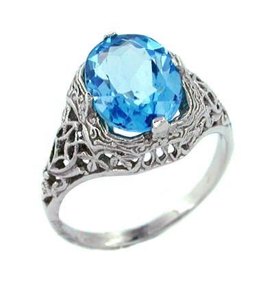 Blue Topaz Filigree Ring in 14 Karat White Gold