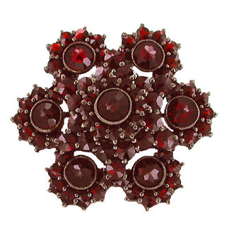Victorian Bohemian Garnet Floral Brooch with Antique Finish in Sterling Silver