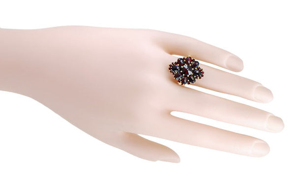 Victorian Style Bohemian Garnet Cocktail Ring in 14 Karat Gold and Sterling Vermeil - Item: R193 - Image: 2