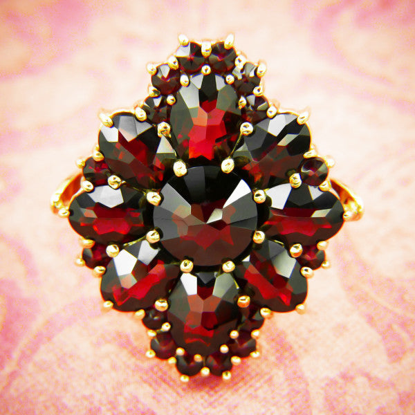Victorian Style Bohemian Garnet Cocktail Ring in 14 Karat Gold and Sterling Vermeil - Item: R193 - Image: 3