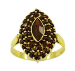 Victorian Style Marquise Shape Bohemian Garnet Cocktail Ring in 14 Karat Gold and Sterling Vermeil