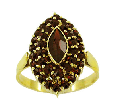Victorian Style Marquise Shape Bohemian Garnet Navette Ring in 14 Karat Gold and Sterling Vermeil