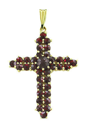 Victorian Bohemian Garnets Straightline Cross Pendant in Yellow Gold Vermeil Over Sterling Silver