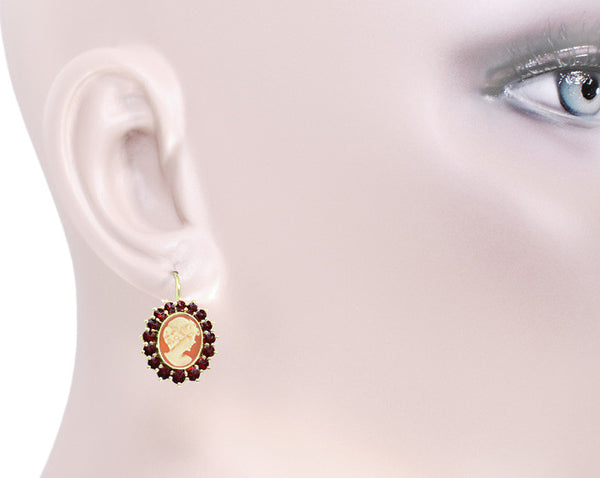 Shell Cameo Earrings with Bohemian Garnet Frames in 14 Karat Yellow Gold & Sterling Silver Vermeil - Item: E129 - Image: 2
