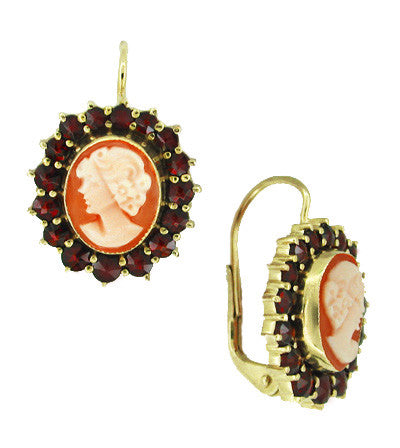 Shell Cameo Earrings with Bohemian Garnet Frames in 14 Karat Yellow Gold & Sterling Silver Vermeil - Item: E129 - Image: 1