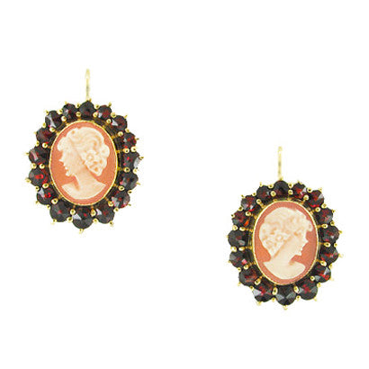 Shell Cameo Earrings with Bohemian Garnet Frames in 14 Karat Yellow Gold & Sterling Silver Vermeil