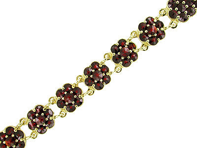 Bohemian Garnet Floral Link Bracelet in Sterling Silver with Yellow Gold Vermeil
