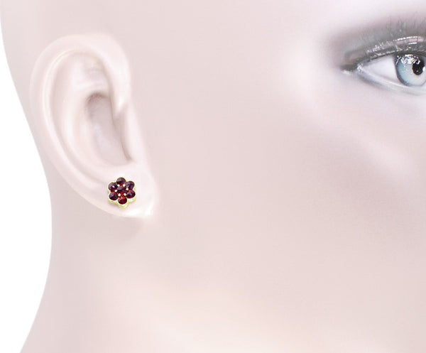 Bohemian Garnet Flower Victorian Stud Earrings in 14 Karat Yellow Gold and Sterling Silver Vermeil - Item: E131 - Image: 1