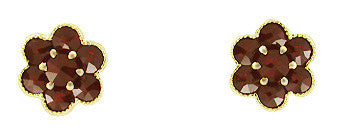 Bohemian Garnet Flower Victorian Stud Earrings in 14 Karat Yellow Gold and Sterling Silver Vermeil