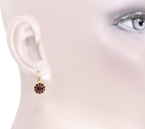 Bohemian Garnet Victorian Drop Earrings in 14 Karat Yellow Gold and Sterling Silver Vermeil - Item: E128 - Image: 2
