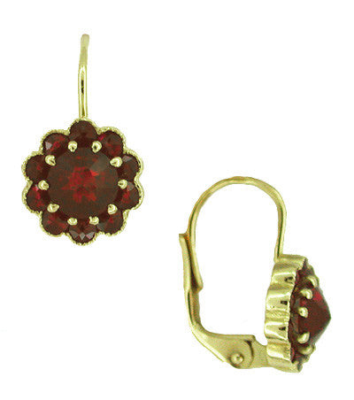 Bohemian Garnet Victorian Drop Earrings in 14 Karat Yellow Gold and Sterling Silver Vermeil - Item: E128 - Image: 1