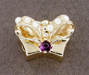 Bow Knot Motif Seed Pearl and Amethyst Set Slide in 14 Karat Gold