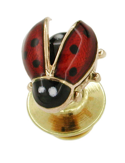 Enameled Ladybug Antique Lapel Pin in 14 Karat Gold - Item: BR161 - Image: 1