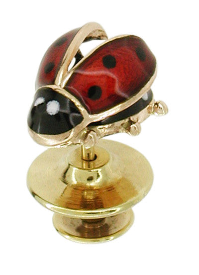 Enameled Ladybug Antique Lapel Pin in 14 Karat Gold