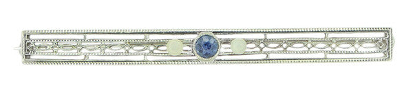 Art Deco Filigree Sapphire and Pearls Long Antique Brooch in 14 Karat White Gold