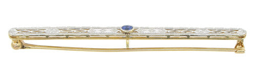 Art Deco Filigree Sapphire Antique Krementz Brooch in 14 Karat Gold - Item: BR172 - Image: 1