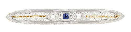 Art Deco Filigree Diamond and Sapphire Antique Krementz Brooch in 14 Karat Gold