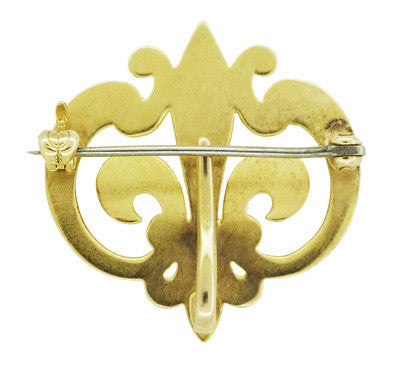 Antique Victorian Fleur De Lis Scroll Brooch and Watch Pin in 14 Karat Yellow Gold - Item: BR181 - Image: 1