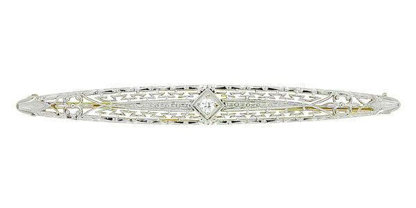Krementz Art Deco Filigree Diamond Antique Engraved Bar Brooch in 14K Yellow Gold and Platinum