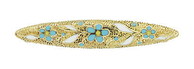 Krementz Small Antique Victorian Blue and White Enamel Flower Bar Brooch in 14 Karat Yellow Gold